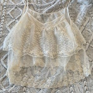 American Eagle Sheer Lace Overlay Tank